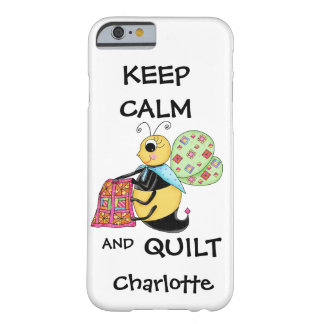 Whimsy Keep Calm and Quilt Bee Name Personalized Barely There iPhone 6 Case