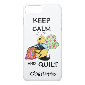 Whimsy Keep Calm and Quilt Bee Name Personalized iPhone 7 Plus Case