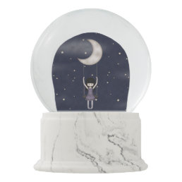 Whimsy Little Fantasy Girl Swinging from the Moon Snow Globe