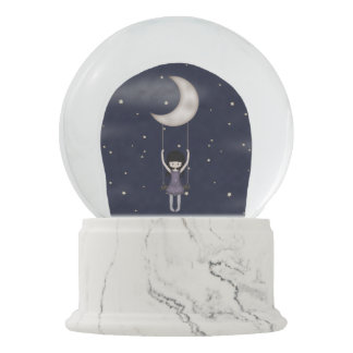 Whimsy Little Fantasy Girl Swinging from the Moon Snow Globes