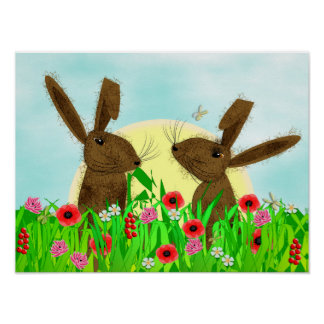 Whimsy March Hare Spring Flowers Poster