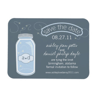 Whimsy Mason Jar Save the Date Flexible Magnets