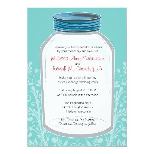 """Whimsy Mason Jar Wedding 5"""" X 7"""" Invitation Card"""