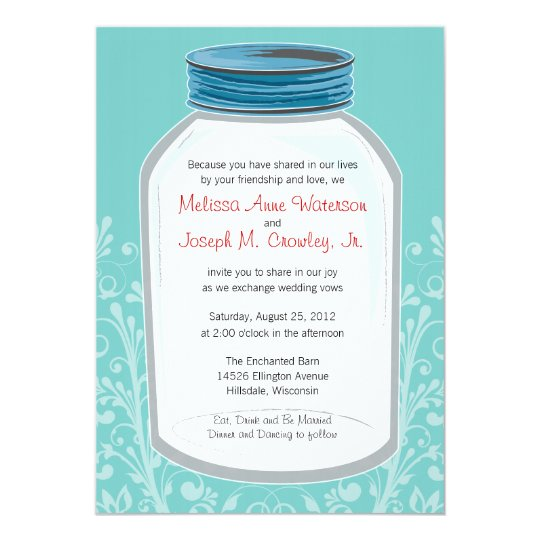 Whimsy Mason Jar Wedding Card