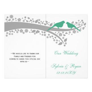 whimsy mint lovebirds  folded Wedding program