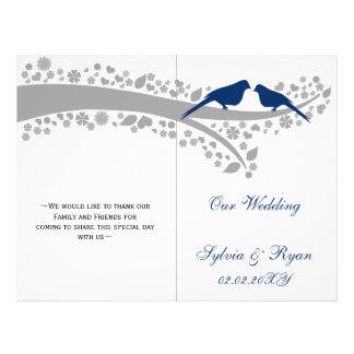 whimsy navy blue lovebirds  folded Wedding program