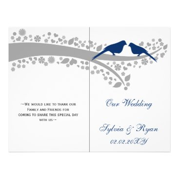 whimsy navy blue lovebirds  folded Wedding program