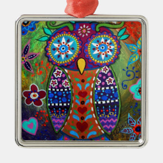 whimsy owl metal ornament