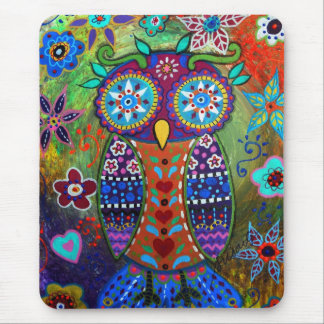 whimsy owl mouse pad