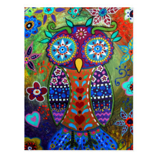 whimsy owl postcard
