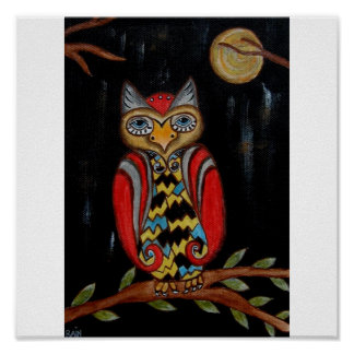 Whimsy Owl Poster