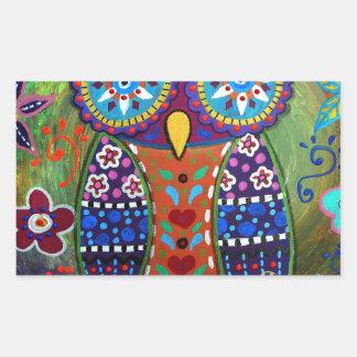 whimsy owl rectangular sticker