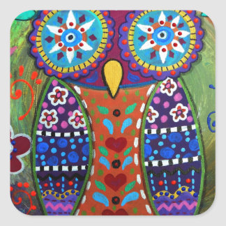 whimsy owl square sticker