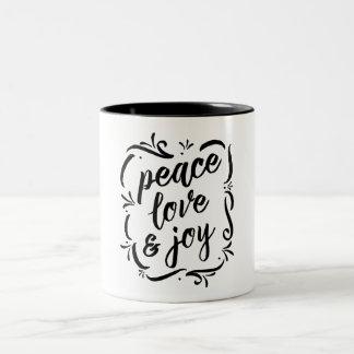 Whimsy Peace Love & Joy Two-Tone Coffee Mug