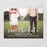 """Whimsy Photo Save the Date Announcement<br><div class=""""desc"""">Whimsical and stylish save the date announcement with photo featuring white modern calligraphy script.</div>"""
