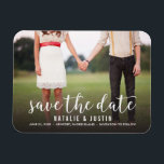 """Whimsy Photo Save the Date Announcement Magnet<br><div class=""""desc"""">Whimsical and stylish save the date announcement with photo featuring white modern calligraphy script</div>"""