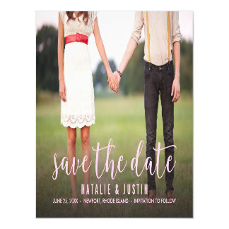 Whimsy Photo Save the Date Announcement Pink