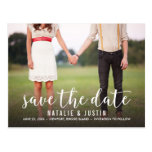 Whimsy Photo Save the Date Announcement Postcard<br><div class='desc'>Whimsical and stylish save the date announcement with photo featuring white modern calligraphy script.</div>