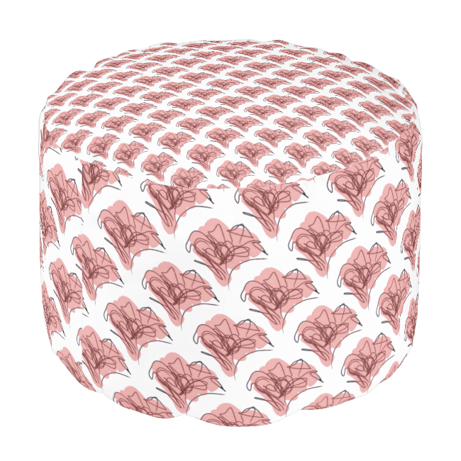Whimsy Pink Flower Round Pouf