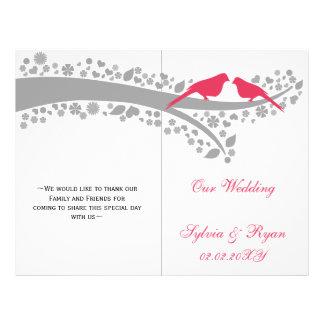 whimsy pink lovebirds  folded Wedding program