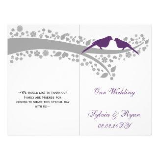 whimsy purple lovebirds  folded Wedding program