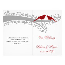 whimsy red lovebirds  folded Wedding program