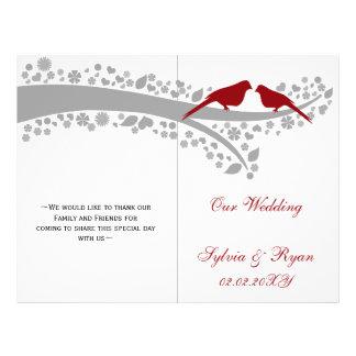 whimsy red lovebirds  folded Wedding program