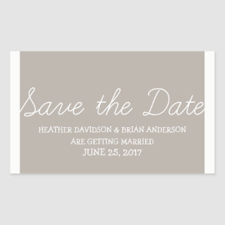 Whimsy Save the Date Stickers, Beige Rectangular Sticker