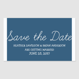 Whimsy Save the Date Stickers, Blue Rectangular Sticker