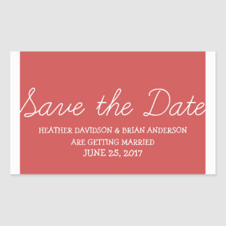 Whimsy Save the Date Stickers, Red Rectangular Sticker