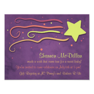 "Whimsy Shooting Star Baby Shower Invitation 4.25"" X 5.5"" Invitation Card"