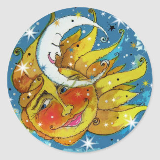 Whimsy Sun and Moon Classic Round Sticker