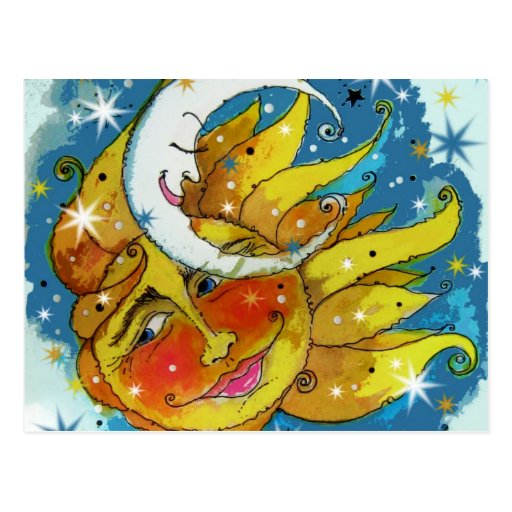 Whimsy Sun and Moon Post Card