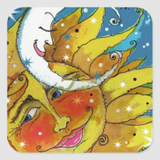 Whimsy Sun and Moon Square Sticker