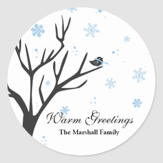 Whimsy Tree and Bird - Snowflakes Sticker