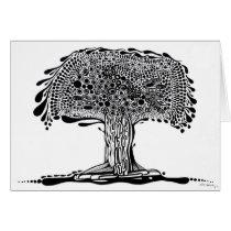 nature, ink, leaves, tree, abstract, minimalism, garden, folliage, original, artsprojekt, plants, drawing, blackandwhite, Card with custom graphic design