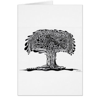 Whimsy tree Black and White Card