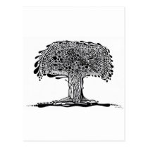 nature, ink, leaves, tree, abstract, minimalism, garden, folliage, original, artsprojekt, plants, drawing, blackandwhite, Postcard with custom graphic design