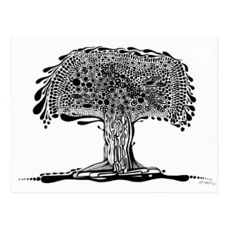Whimsy tree Black and White Postcard