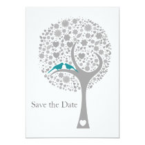 whimsy tree blue lovebirds mod save the date card