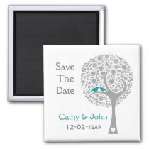 whimsy tree blue lovebirds mod save the date magnet