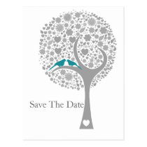 whimsy tree blue lovebirds mod save the date postcard