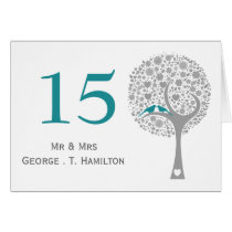 whimsy tree blue lovebirds mod table numbers card