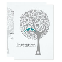 whimsy tree blue lovebirds mod wedding invites