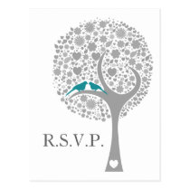 whimsy tree blue lovebirds mod wedding rsvp postcard