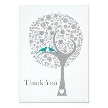 whimsy tree blue lovebirds mod wedding Thank You Card