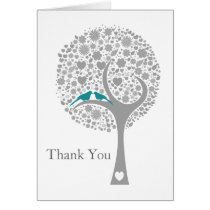 whimsy tree blue lovebirds mod wedding Thank You Card