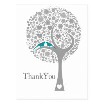 whimsy tree blue lovebirds mod wedding Thank You Postcard