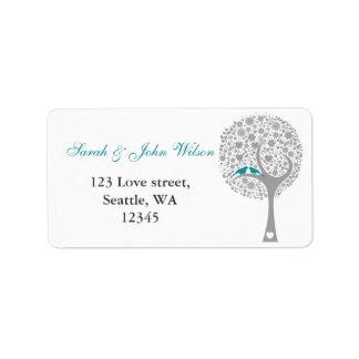 whimsy tree blue lovebirds return address label