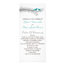 whimsy tree blue lovebirds Wedding program